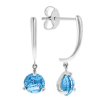 14k white gold round checkerboard blue topaz dangle earrings
