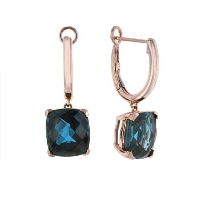 14k rose gold checkerboard cushion deep blue topaz drop earrings
