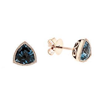 14k rose gold checkerboard trillion deep blue topaz milgrain bezel post earrings