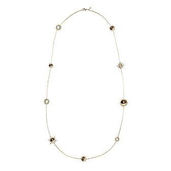 Anzie 14K Yellow Gold Aztec Celestial Sautoir Clear Topaz Necklace