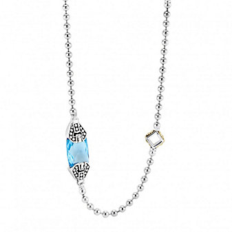 Lagos Sterling Silver & 18K Yellow Gold Caviar Color Blue Topaz Station Necklace