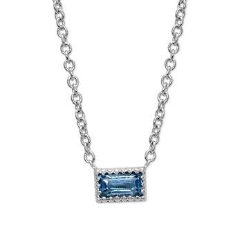 14K White Gold Baguette Blue Topaz Necklace