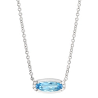 """14K_White_Gold_Oval_Blue_Topaz_and_Round_Diamond_East_West_Necklace,_18"""""""