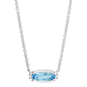 14K White Gold Oval Blue Topaz and Round Diamond East West Necklace, 18""