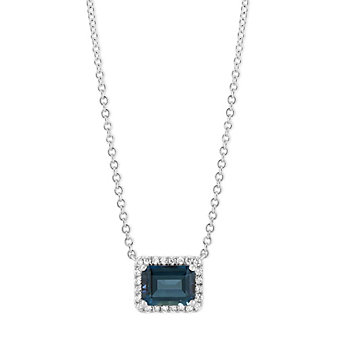 14K White Gold Horizontal Emerald Cut Blue Topaz and Diamond Halo Necklace