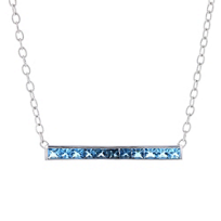 "14k_white_gold_princess_cut_blue_topaz_ombre_bar_necklace,_18"""