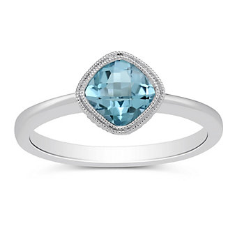 14K White Gold Bezel Set Blue Topaz Ring