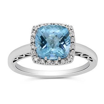 14K White Gold Cushion Blue Topaz and Round Diamond Ring