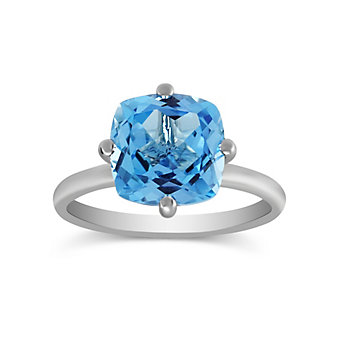 14K White Gold Cushion Blue Topaz Ring