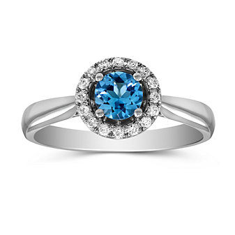 14K White Gold Blue Topaz and Round Diamond Halo Ring
