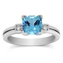 14K_White_Gold_Checkerboard_Cushion_Blue_Topaz_and_Round_Diamond_Ring