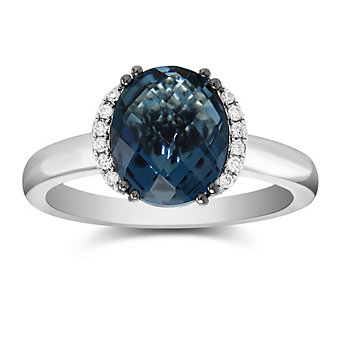 14K White Gold Oval Blue Topaz and Round Diamond Ring