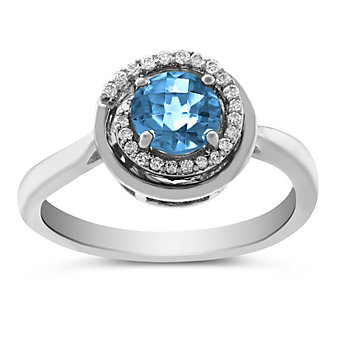14K White Gold Round Checkerboard Blue Topaz and Diamond Ring