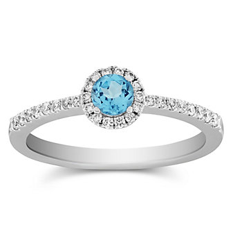 14K White Gold Blue Topaz and Diamond Halo Ring