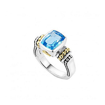 lagos 18k yellow gold and sterling silver caviar color cushion cut blue topaz ring, size 7