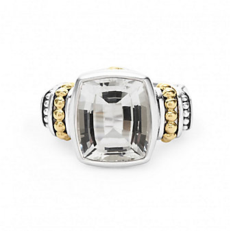 Lagos Sterling Silver & 18K Yellow Gold Color Caviar White Topaz Ring