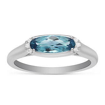 14K White Gold East West Oval Blue Topaz & Diamond Ring