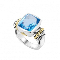 Lagos_Sterling_Silver_&_18K_Yellow_Gold_Color_Caviar_Blue_Topaz_Ring