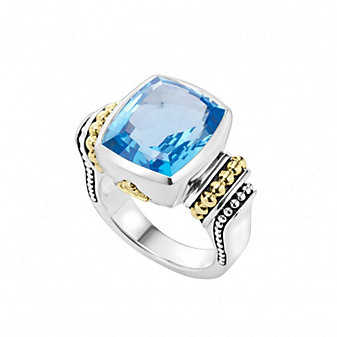 Lagos Sterling Silver & 18K Yellow Gold Color Caviar Blue Topaz Ring