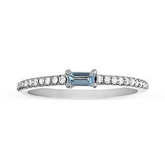 14K White Gold Baguette Blue Topaz and Diamond Ring