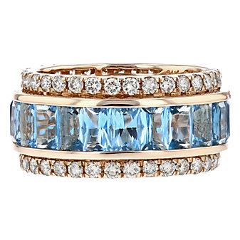 14k rose gold rectangular blue topaz & diamond 3 row ring