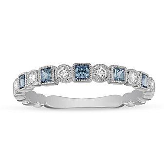 14K White Gold Blue Topaz & Diamond Geometric Ring