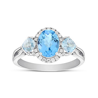 14K White Gold Oval and Cushion Blue Topaz 3 Stone Ring with Diamond Halo