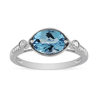 14K White Gold Oval Blue Topaz and Diamond Milgrain East-West Ring