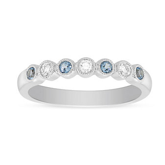 14K White Gold Round Blue Topaz and Diamond Bezel Set Milgrain Ring