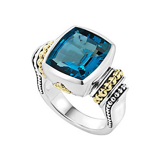 Lagos London Blue Topaz Ring with 18K Yellow Gold Caviar Beading