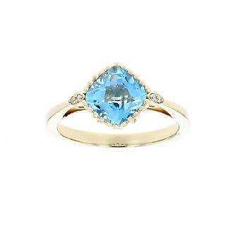 14k yellow gold cushion checkerboard blue topaz & diamond ring