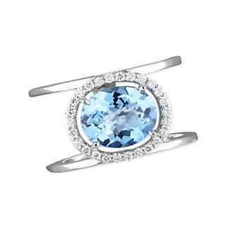 14K White Gold Oval Irradiated Blue Topaz & Diamond Ring