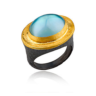 lika behar 24k yellow gold & sterling silver blue topaz & mother of pearl doublet pompei ring
