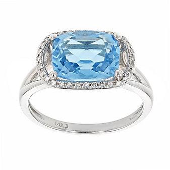 14k white gold cushion blue topaz & diamond ring with split shank