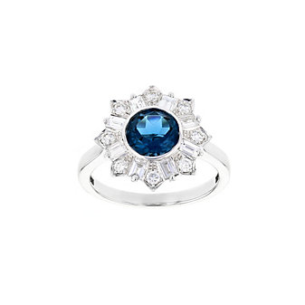 18k white gold round london blue topaz & diamond deco halo ring