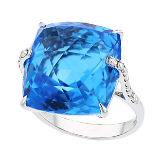 14k white gold checkerboard cushion blue topaz & diamond shoulder ring