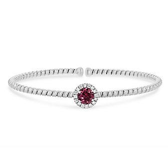 18k white gold diamond halo and pink tourmaline flexible cuff bracelet