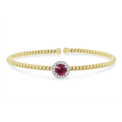 18k yellow and white gold diamond halo and pink tourmaline flexible cuff bracelet