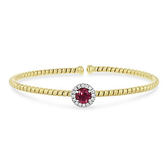 18k yellow and white gold diamond halo and pink tourmaline flexible cuff bracelet
