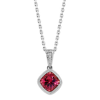 14K White Gold Cushion Pink Tourmaline Bezel Set Pendant