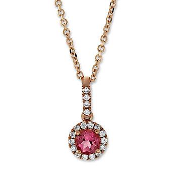 14K Rose Gold Pink Tourmaline and Round Diamond Halo Pendant