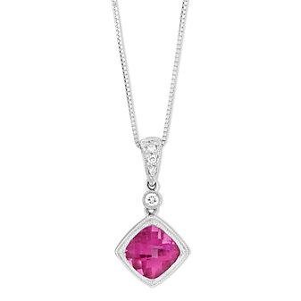 14K White Gold Cushion Pink Tourmaline & Diamond Pendant