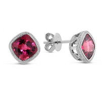 14K_White_Gold_Cushion_Checkerboard_Pink_Tourmaline_Earrings