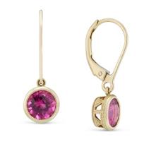 14K_Yellow_Gold_Checkerboard_Pink_Tourmaline_Drop_Earrings