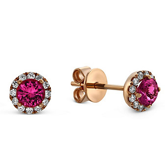 14K Rose Gold Pink Tourmaline and Round Diamond Halo Earrings