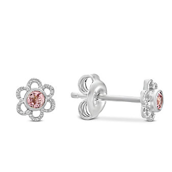 Sterling Silver Child's Pink Tourmaline Flower Earrings