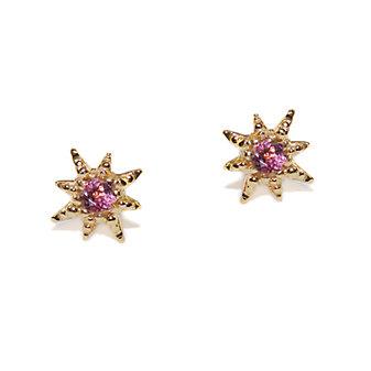 Anzie 14K Yellow Gold Micro Aztec Pink Tourmaline Starburst Earrings
