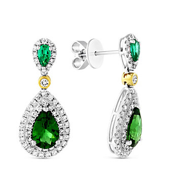 18K Yellow & White Gold Chrome Tourmaline, Emerald and Diamond Drop Earrings