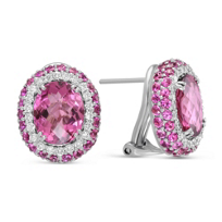 18K_White_Gold_Pink_Tourmaline,_Pink_Sapphire_and_Diamond_Earrings