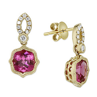 14K Yellow Gold Pink Tourmaline and Diamond Drop Earrings